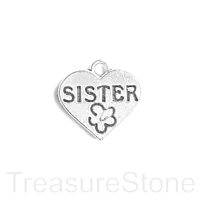 "Charm, pendant, 15x18mm silver-colored heart, ""sister"". 6pcs"