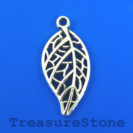 Charm/Pendant, silver-plated, 15x28mm leaf, filigree. Pkg of 6.