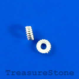 Bead, silver-finished, 5x2mm rondelle. Pkg of 30.