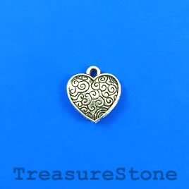 Charm, silver-plated, 15mm heart. Pkg of 11.