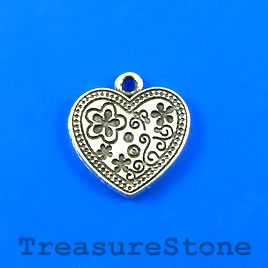 Charm/Pendant, antiqued silver-plated, 17mm heart. Pkg of 6.