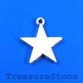 Charm/Pendant, silver-plated, 20mm star. Pkg of 8.