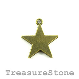Charm/Pendant, brass-plated, 20mm star. Pkg of 8.