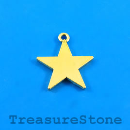 Charm/Pendant, gold-plated, 20mm star. Pkg of 8.