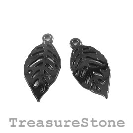 Charm, black-colored, 12x20mm leaf. Pkg of 12.
