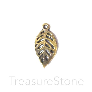 Charm/pendant, brass finished, 12x20mm leaf. Pkg of 12