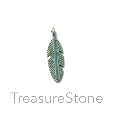 Charm, turquoise brass-plated, 6x17mm feather. Pkg of 15.