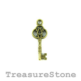 Charm/Pendant, brass-plated, 10x24mm key. Pkg of 7.