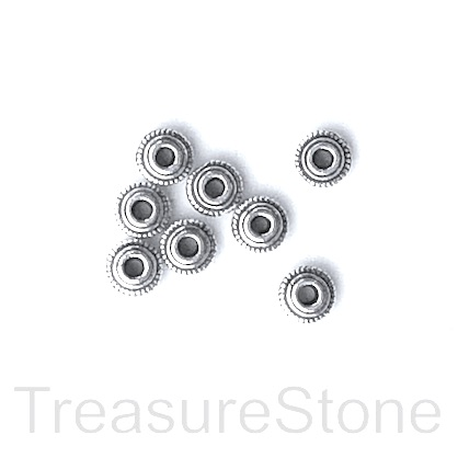 Bead, antiqued silver-finished, 5x2.5mm saucer. Pkg of 25.
