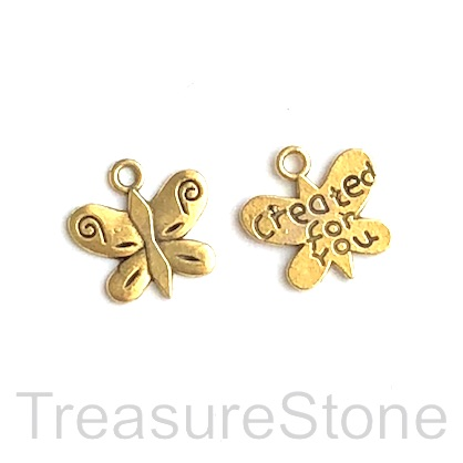 Charm, gold-finished, 11x13mm butterfly, created for you. 15pcs