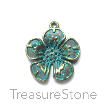 Bead, turquoise brass-colored, 22mm flower. Pkg of 8
