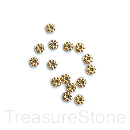 Bead, antiqued gold-finished, 4mm daisy. pkg of 30.