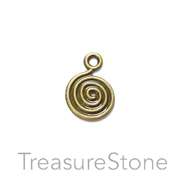 Charm, brass-finished, 13mm swirl disc. Pkg of 12