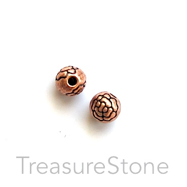 Bead, antiqued copper finished, 6mm round. Pkg of 16