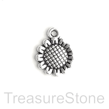 Charm/pendant, silver-plated, 14mm sunflower. Pkg of 12.