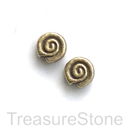 Bead, antiqued brass finished, 9x4mm swirl. Pkg of 12