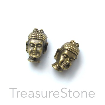 Bead, antiqued brass finished, 8x13mm buddha head. Pkg of 10