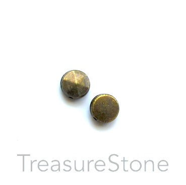 Bead, antiqued brass finished, 6mm faceted disk. Pkg of 20.