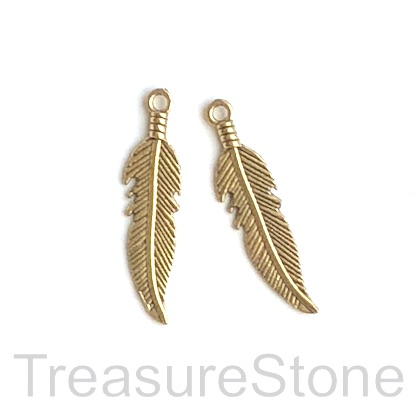 Charm/pendant, gold colored, 7x23mm feather. Pkg of 12