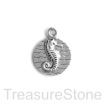 Pendant/charm, silver-plated, 15mm seahorse. Pkg of 9.