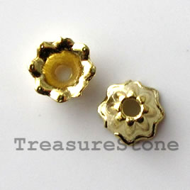 Bead cap, bright gold-finished, 7mm. Pkg of 22.