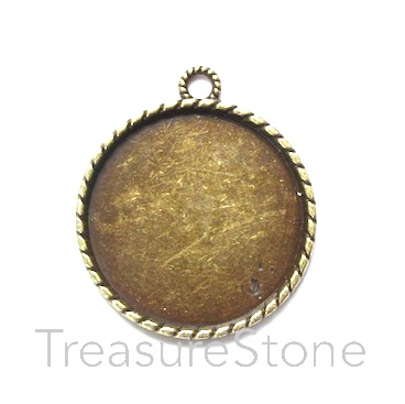 Pendant/Frame, brass-finished, 33mm round. Each.