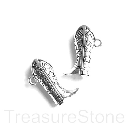 Pendant/charm, 13x25mm cowboy boot. Pkg of 4.