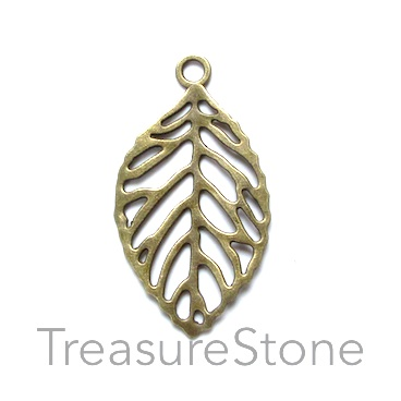 Pendant, brass-finished, 27x43mm leaf. Pkg of 3.