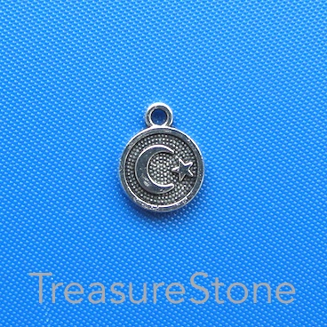 Charm, silver coloured, 10mm disk with moon, star. Pkg of 15.