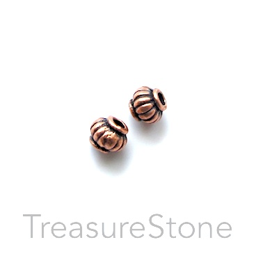 Bead, antiqued copper-finished, 5mm lantern. Pkg of 30