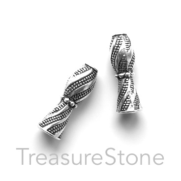 Bead, antiqued silver-finished, 6x16mm vase shaped tube. 9pcs