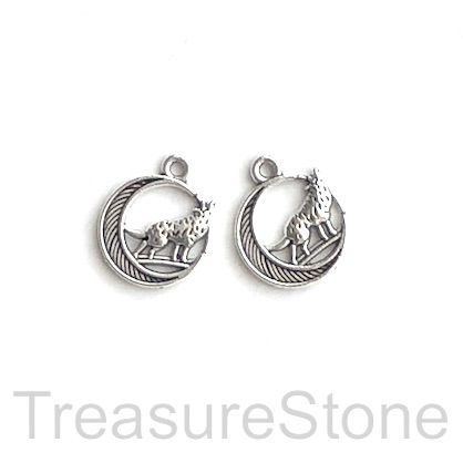 Charm, pendant, silver-finished, 10x12mm wolf and moon. 12pcs