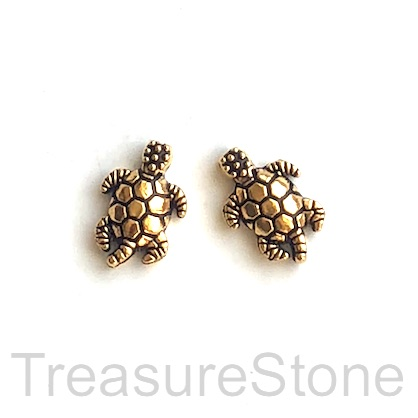 Bead, antiqued gold-finished, 9x13mm turtle. Pkg of 15.