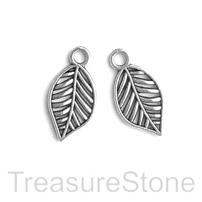 Charm, pendant, silver finished, 10x16mm leaf. Pkg of 12.