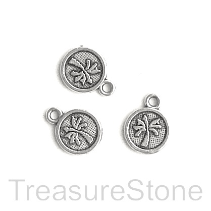 Pendant/charm, silver-plated, 8mm palm tree. Pkg of 15.