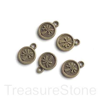 Pendant/charm, brass-plated, 8mm palm tree. Pkg of 15.