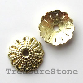 Bead cap, bright gold-finished, 12mm. Pkg of 18.