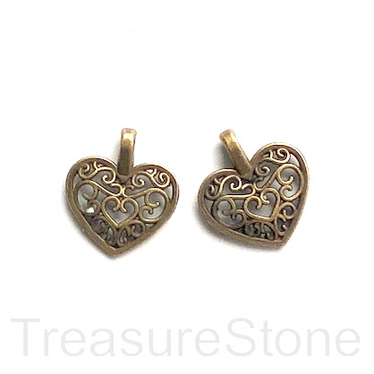Charm, brass-finished, 14mm filigree heart. Pkg of 10.