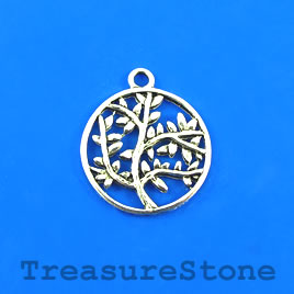 Charm/Pendant, silver-plated, 20mm tree of life. Pkg of 6.