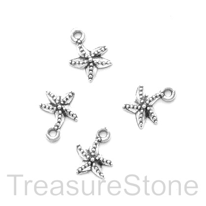 Charm, silver-finished, 10mm starfish. Pkg of 16.