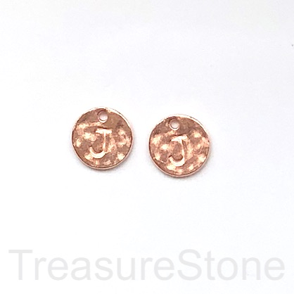 A Charm, rose gold-colored, letter J, 10mm. Pkg of 2.