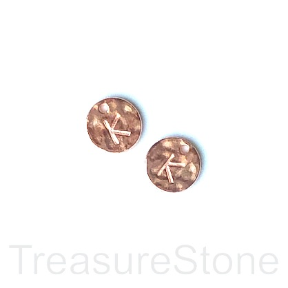A Charm, rose gold-colored, letter K, 10mm. Pkg of 2.