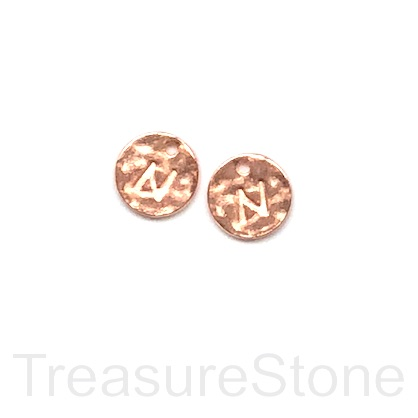 A Charm, rose gold-colored, letter N, 10mm. Pkg of 2.