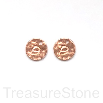A Charm, rose gold-colored, letter P, 10mm. Pkg of 2.