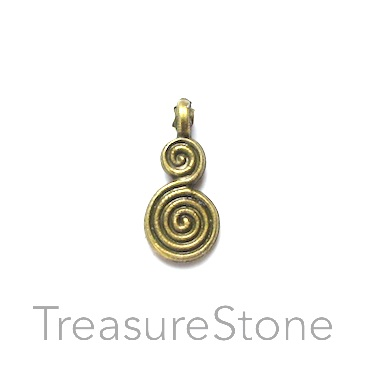 Charm, brass-finished, 9x14mm double swirl. Pkg of 12