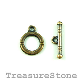 Clasp, toggle, antiqued brass-finished, 12mm/19mm. Pkg of 12.