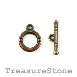 Clasp, toggle, antiqued copper-finished, 12mm/19mm. Pkg of 12.