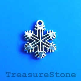 Charm, silver-plated, 12mm snowflake. Pkg of 12.