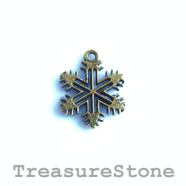 Charm, brass-plated, 12mm snowflake. Pkg of 12.