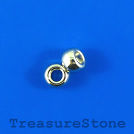 Bead, silver-finished, large hole, 7x4mm rondelle. Pkg of 20.